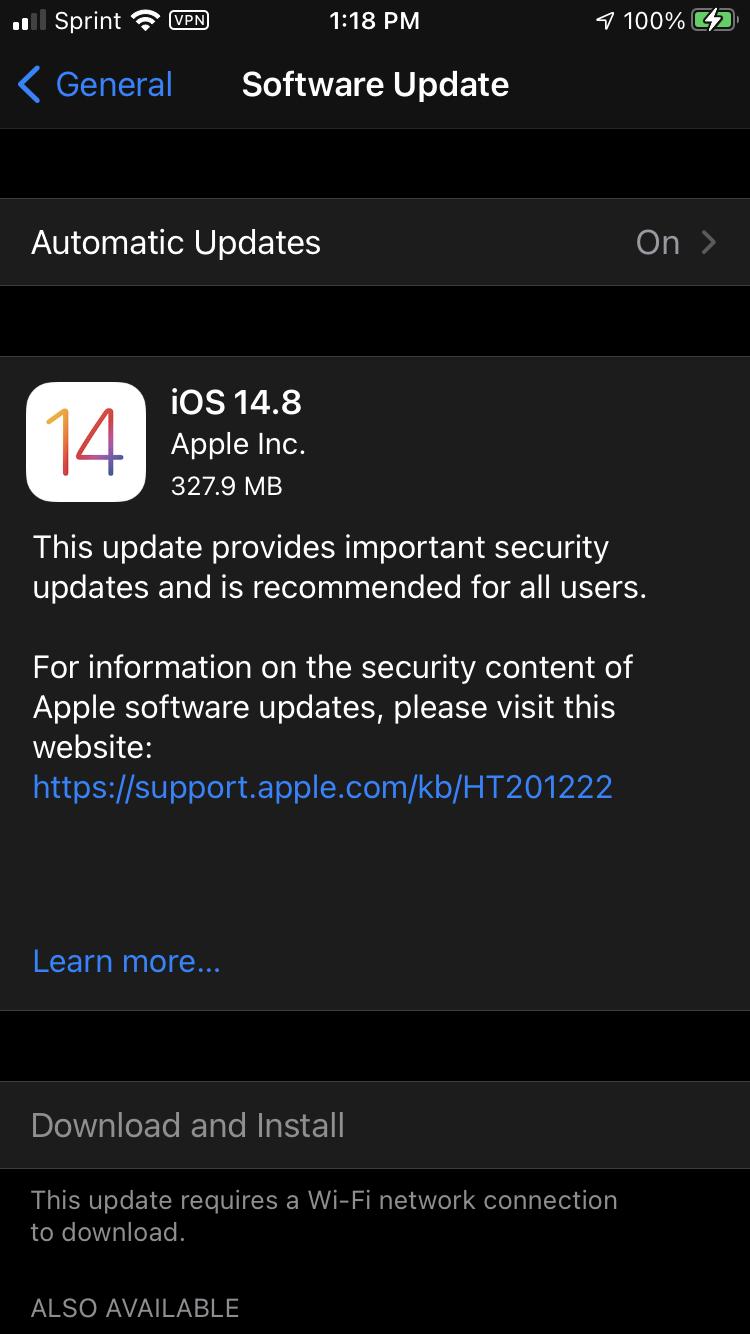 Older iPhone models hide the iOS 15 upgrade option.