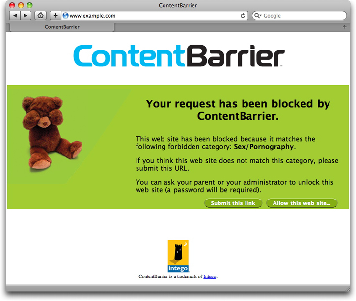 Using intego contentbarrier to give this user access to the page if it was incorrectly blocked for example click the allow this web site button at the bottom of the page ccuart Images