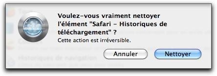 Voulez-vous vraiment nettoyer l'élément Safari - Historiques de téléchargement ?
